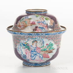 Canton Enamel European-themed Covered Bowl