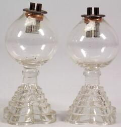 Pair of Colorless Free-Blown and Pressed Glass Whale Oil Lamps