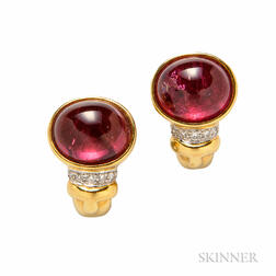 18kt Gold, Tourmaline, and Diamond Earclips