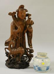 Chinese Carved Wood Goddess of Agriculture Figural Group and a Canton-type Porcelain Ginger Jar.