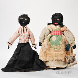 Two Large Black Stockinette Dolls
