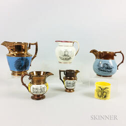 """Five Transfer-decorated Copper Lustre Jugs and a """"Lafayette/Washington"""" Yellow-glazed Cup"""