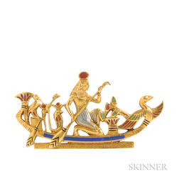Egyptian Revival 18kt Gold and Enamel Brooch