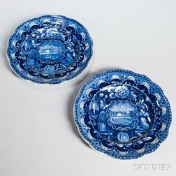 Two Staffordshire Historical Blue Transfer-decorated States Plates