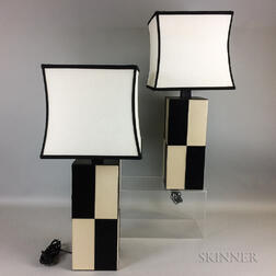 Pair of Tanner Kenzi Black and White Leather Lamps
