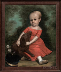 American School, 19th Century      Portrait of a Child in a Red Dress with a Dog