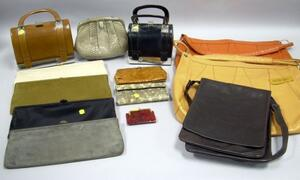 Four Waldman Leather or Suede Oversized Clutches, Two Spanish Leather Metal Bound Purses, a Snakeskin Bag, and ...