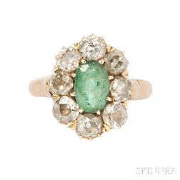 Antique Gold, Emerald, and Diamond Ring
