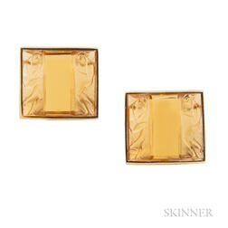 18kt Gold and Glass Earclips, Renato Cipullo