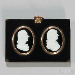 Two William Tassie Glass Paste Portrait Medallions