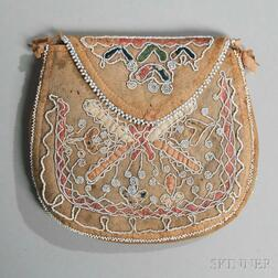 Seneca Beaded Hide and Cloth Bag