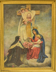 Joseph Malachy Kavanagh (Irish, 1856-1918)      Madonna and Child with Nun and Roses