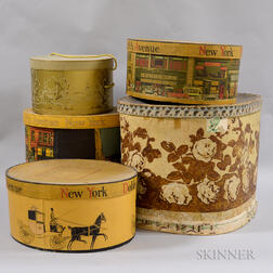 Five Decorated Hat Boxes