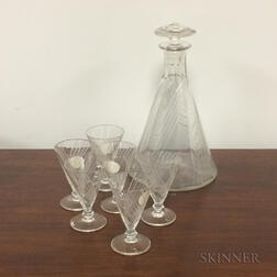 Moser Engraved Colorless Glass Cordial Set