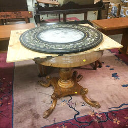 Regency-style Carved Mahogany and Mahogany Veneer Center Table with Scagliola Top
