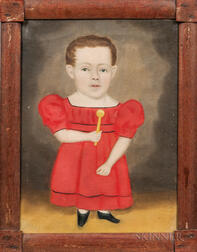 Erastus Salisbury Field (Massachusetts/New York, c. 1805-1900)      Portrait of a Dwarfed Boy in a Red Dress Holding a Rattle