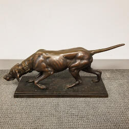 Bronze Sculpture of a Pointer After Jules Moigniez (French, 1834-1894)