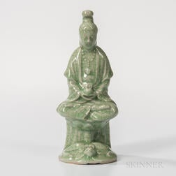 Crackled Celadon-glazed Figure of Guanyin