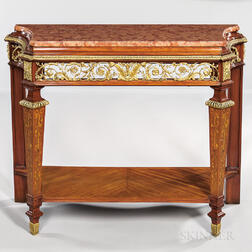 Louis XVI-style Maison Forest Ormolu-mounted Tulipwood and Mahogany Marble-top Side Table