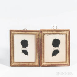 Pair of Hollow-cut Silhouette Portraits of Children