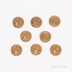 Eight $2.50 Liberty and Indian Head Gold Coins