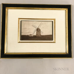 Framed H.Q. Morton Photograph Block Island Photograph Old Wind Mill