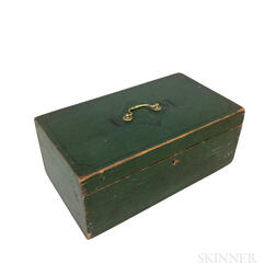 Green-painted Pine Document Box