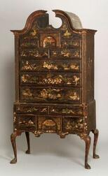 Rare Queen Anne Japanned Maple and Pine High Chest of Drawers