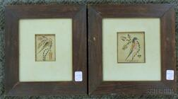 Two Framed Miniature Ink and Watercolor on Paper Frakturs Depicting Birds and   Flowers