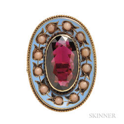 Antique 14kt Gold, Garnet, and Coral Ring