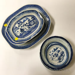 Nine Canton Porcelain Dishes, Trays, and Bowls
