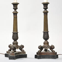 Pair of Empire-style Bronze Lamps