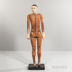 Painted and Carved Articulated Mannequin