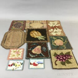 Eleven Small Rectangular Hooked Mats.     Estimate $100-200