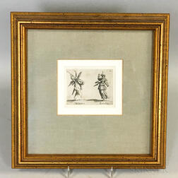 Framed Figural Etching After Jacques Callot Metzetin-Riculina from Bali di Sfessania