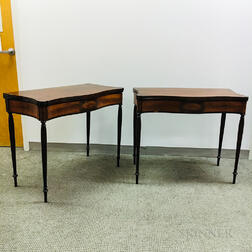 Pair of Boston-type Federal-style Inlaid Mahogany Card Tables