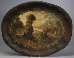 Scenic Painted Tole Tray