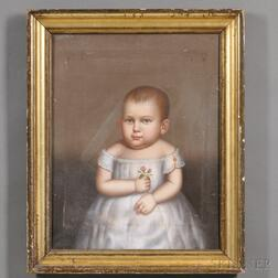 Attributed to Horace Bundy (American, 1814-1883)      Portrait of a Baby Girl Wearing a White Gown and Holding a Pink Rose.