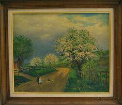 Paul Dartiguenave (Franco-American, 1862-1918)      Two Works:   Mother and Child on a Path by Spring Blossoms