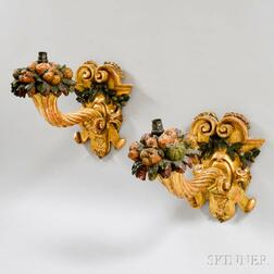 Pair of Carved, Gilt, and Painted Cornucopia Wall Sconces