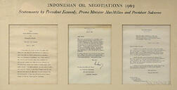 Three Indonesian Oil Negotiation Letters in a Common Frame.     Estimate $20-200