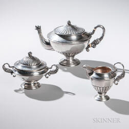 Three-piece Austrian .812 Silver Tea Service