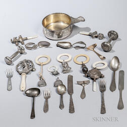 Group of Sterling Silver and Silver-plated Baby Items