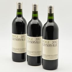 Ridge Geyserville 2012, 3 bottles