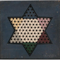 Polychrome Double-sided Checkers/Chinese Checkers Game Board