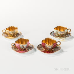 Four Miniature Coalport Porcelain Cups and Saucers