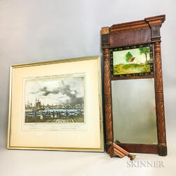 Federal Reverse-painted Glass and Mahogany Mirror and a Framed Print of Boston Harbor