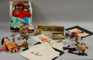 Group of Asian Dolls, Doll Costume Illustrations, Small Figures, and Toys.