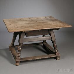 Swiss Alpine Baroque-style Walnut and Pine Center Table
