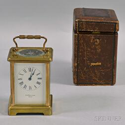 Cased N.G. Wood & Sons Brass and Glass Presentation Carriage Clock